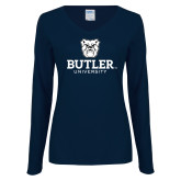 Ladies Navy Long Sleeve V Neck Tee-Butler University Stacked Bulldog Head