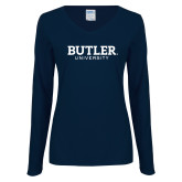 Ladies Navy Long Sleeve V Neck Tee-Butler University