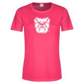 Ladies Performance Hot Pink Tee-Bulldog Head