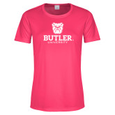 Ladies Performance Hot Pink Tee-Butler University Stacked Bulldog Head