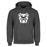 Charcoal Fleece Hoodie-Bulldog Head
