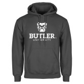 Charcoal Fleece Hoodie-Butler University Stacked Bulldog Head