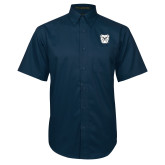 Navy Twill Button Down Short Sleeve-Bulldog Head