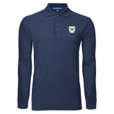 Navy Long Sleeve Polo-Bulldog Head