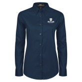 Ladies Navy Twill Button Down Long Sleeve-Butler University Stacked Bulldog Head