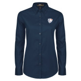 Ladies Navy Twill Button Down Long Sleeve-White Tag Trip