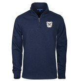 Navy Slub Fleece 1/4 Zip Pullover-Bulldog Head
