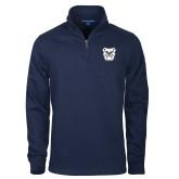 Navy Rib 1/4 Zip Pullover-Bulldog Head