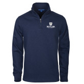 Navy Slub Fleece 1/4 Zip Pullover-Butler University Stacked Bulldog Head