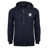 Navy Fleece Full Zip Hoodie-Bulldog Head