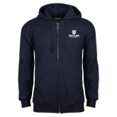 Navy Fleece Full Zip Hoodie-Butler University Stacked Bulldog Head