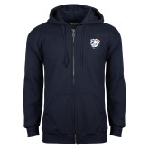Navy Fleece Full Zip Hoodie-White Tag Trip