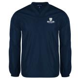 V Neck Navy Raglan Windshirt-Butler University Stacked Bulldog Head