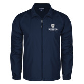 Full Zip Navy Wind Jacket-Butler University Stacked Bulldog Head