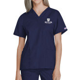 Ladies Navy Two Pocket V Neck Scrub Top-Butler University Stacked Bulldog Head