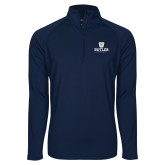 Sport Wick Stretch Navy 1/2 Zip Pullover-Butler University Stacked Bulldog Head