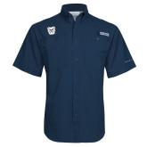 Columbia Tamiami Performance Navy Short Sleeve Shirt-Bulldog Head