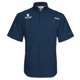 Columbia Tamiami Performance Navy Short Sleeve Shirt-Butler University Stacked Bulldog Head