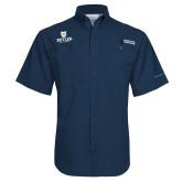 Columbia Tamiami Performance Navy Short Sleeve Shirt-Butler University Stacked Bulldog Head