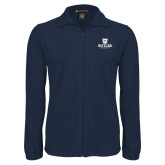 Fleece Full Zip Navy Jacket-Butler University Stacked Bulldog Head