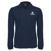 Fleece Full Zip Navy Jacket-Butler University Stacked Bulldog Head