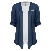 Ladies Navy Drape Front Cardigan-Butler