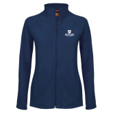 Ladies Fleece Full Zip Navy Jacket-Butler University Stacked Bulldog Head