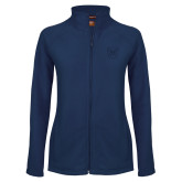 Ladies Fleece Full Zip Navy Jacket-Bulldog Head