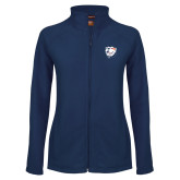 Ladies Fleece Full Zip Navy Jacket-White Tag Trip