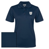 Ladies Navy Dry Mesh Polo-Bulldog Head