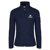 Columbia Ladies Full Zip Navy Fleece Jacket-Butler University Stacked Bulldog Head