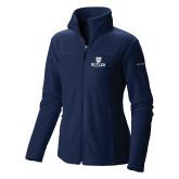 Columbia Ladies Full Zip Navy Fleece Jacket-Butler University Stacked Bulldog Head