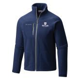 Columbia Full Zip Navy Fleece Jacket-Butler University Stacked Bulldog Head