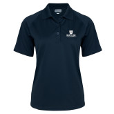 Ladies Navy Textured Saddle Shoulder Polo-Butler University Stacked Bulldog Head