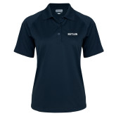 Ladies Navy Textured Saddle Shoulder Polo-Butler