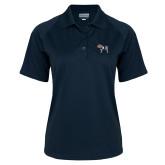 Ladies Navy Textured Saddle Shoulder Polo-Ivy League