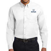 White Twill Button Down Long Sleeve-Butler University Stacked Bulldog Head