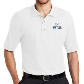 White Easycare Pique Polo-Butler University Stacked Bulldog Head