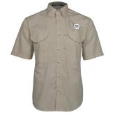 Khaki Short Sleeve Performance Fishing Shirt-Bulldog Head