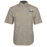 Khaki Short Sleeve Performance Fishing Shirt-Butler University Stacked Bulldog Head
