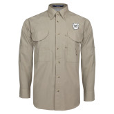 Khaki Long Sleeve Performance Fishing Shirt-Bulldog Head