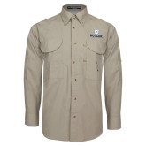 Khaki Long Sleeve Performance Fishing Shirt-Butler University Stacked Bulldog Head