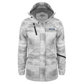 Ladies White Brushstroke Print Insulated Jacket-Butler University Stacked Bulldog Head