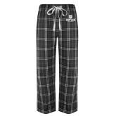 Black/Grey Flannel Pajama Pant-Butler University Stacked Bulldog Head