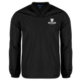 V Neck Black Raglan Windshirt-Butler University Stacked Bulldog Head