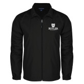 Full Zip Black Wind Jacket-Butler University Stacked Bulldog Head