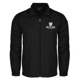 Full Zip Black Wind Jacket-Butler University Stacked Bulldog Head