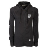 Ladies Under Armour Black Varsity Full Zip Hoodie-Bulldog Head