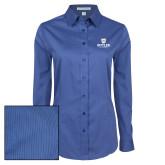 Ladies Deep Blue Tonal Pattern Long Sleeve Shirt-Butler University Stacked Bulldog Head