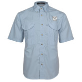 Light Blue Short Sleeve Performance Fishing Shirt-Bulldog Head